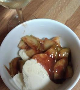 Enjoy the warm, sweet pears over cold ice cream.